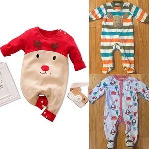 Bundle Lot of Boys Christmas Jumpsuit and Pajamas
